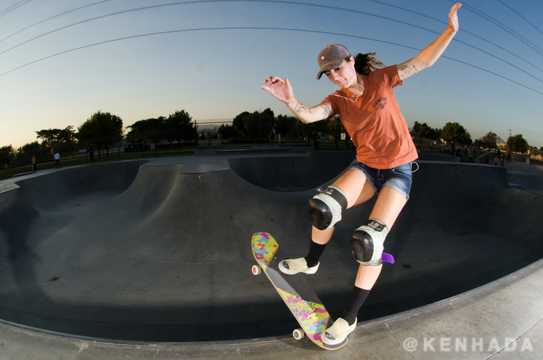 Kristy 50 to tail Chino skateboard park