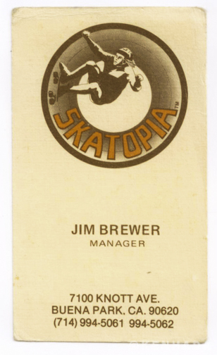 Ken Hada jim brewer skatopia business card