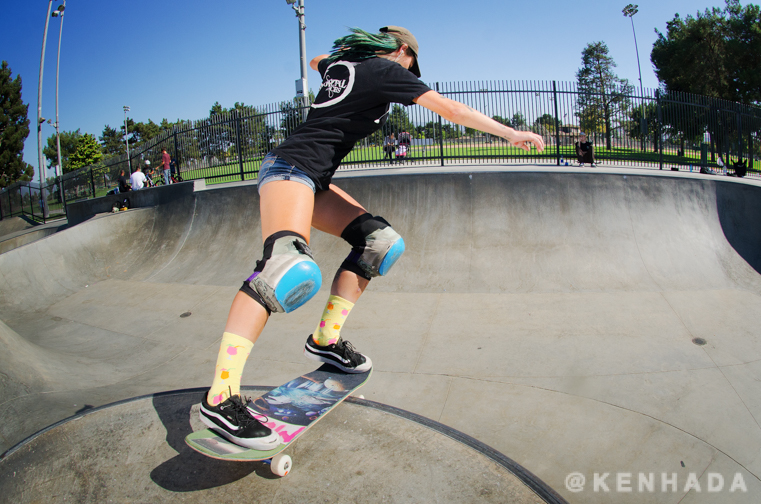 Skateboarder Kristy Scott backside rocknroll Chino Skateboard Park